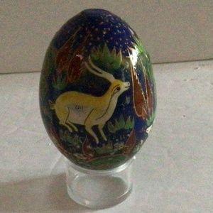 Wood Hand Painted Folk Art Woodland Egg